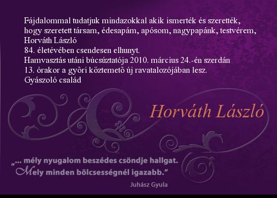Édesapám gyászjelentése – Győr, 2010. március 24.